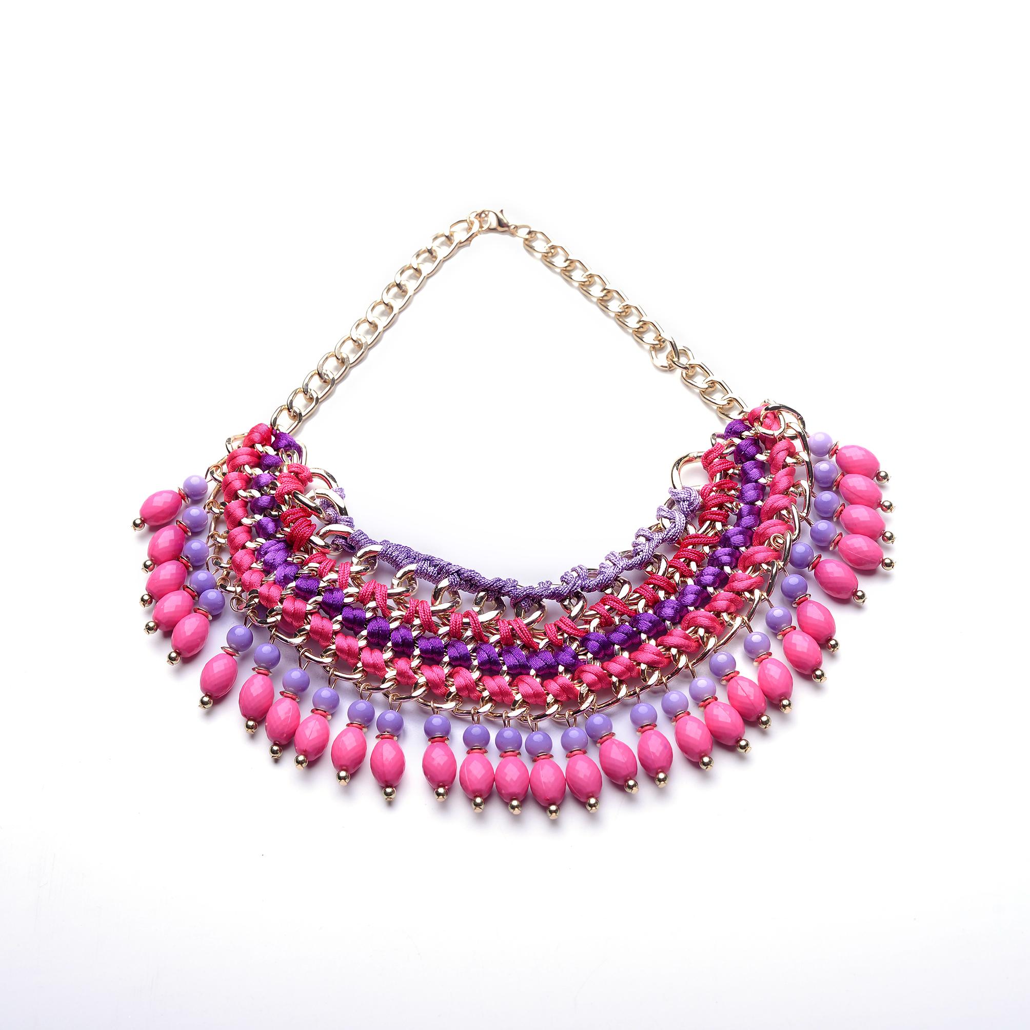 2d4932d4278a Anyaggal átfont, pink kövekkel díszített többsoros nyaklánc